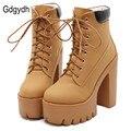 Gdgydh moda Otoño primavera botas del tobillo de la Plataforma de las mujeres de plataforma de tacón grueso botas damas trabajador botas negro de gran tamaño 42