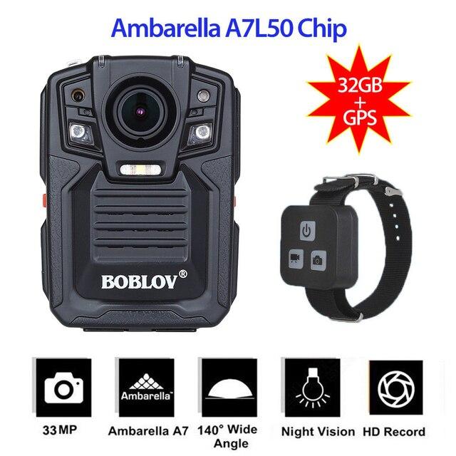 BOBLOV HD66-02 USB HD 1296P IR Night Vision Wearable Police Camera GPS Remote Control HDMI Video Recorder Body Camera Ambarella