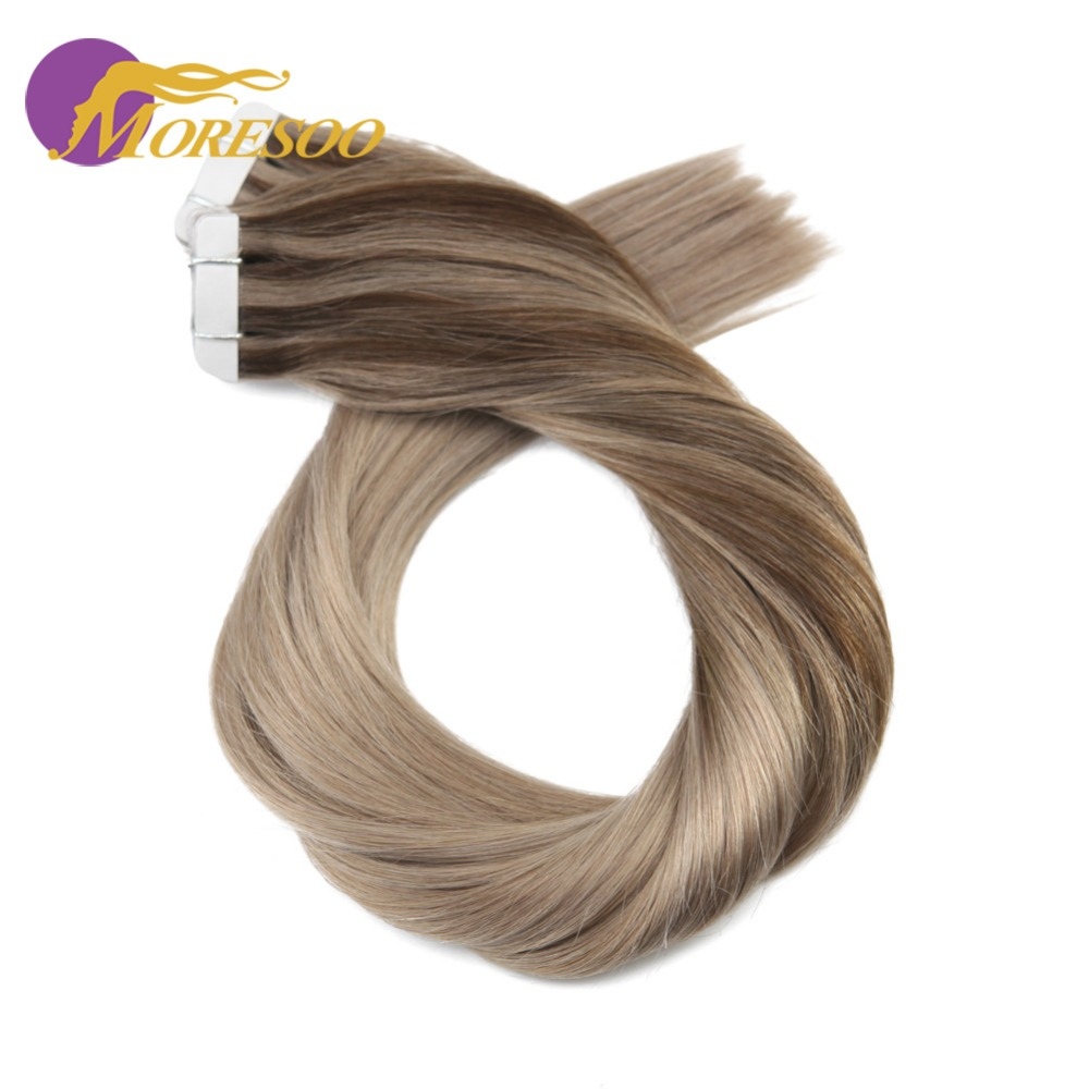 Moresoo Remy Hair Extensions Human Hair Tape in Hair Brown and Ash Blonde Skin Weft Tape in Extensions 20PCS 50G Glue Hair ...