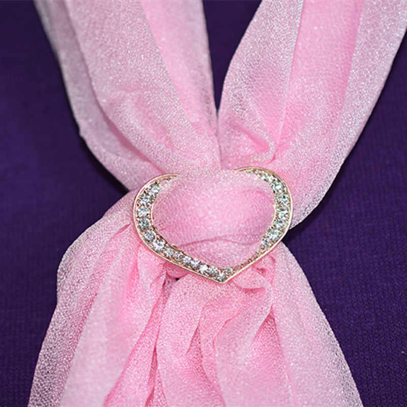 Baru Fashion Perhiasan Kristal Berlian Imitasi Hati Bros H Syal Pins untuk Wanita Syal Gesper Cantik Hadiah Harga Khusus