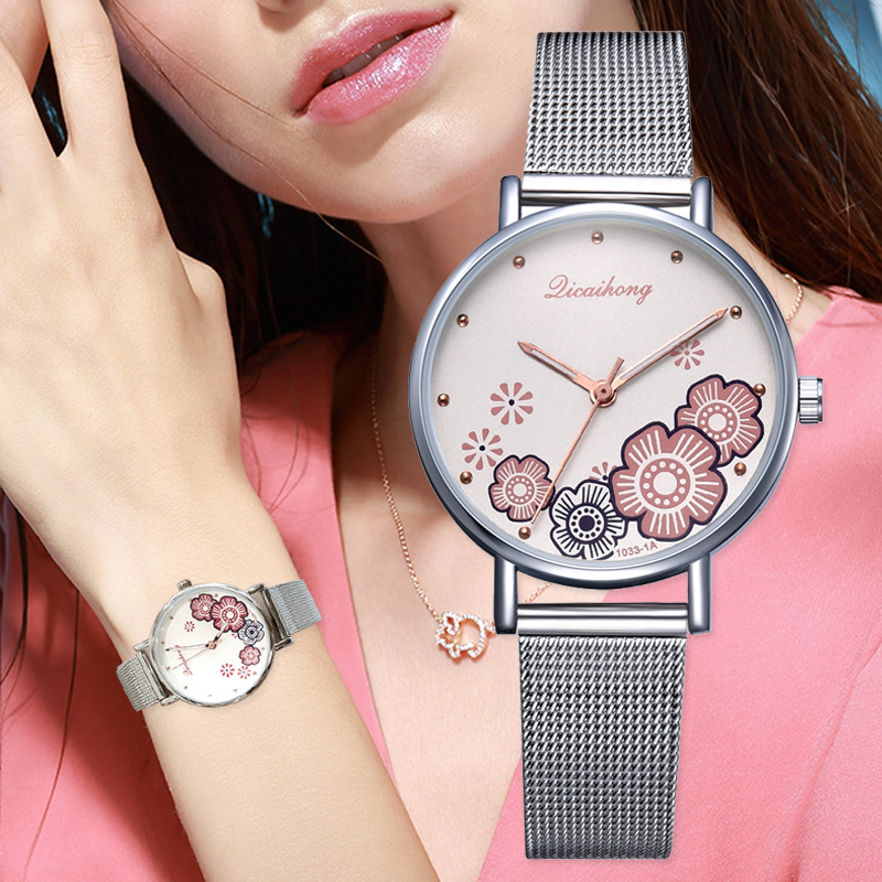 New Watches For Women Luxury Silver Popular Rhinestone Flowers Dial Metal Ladies Bracelet Quartz Clock Ladies Wrist Watch