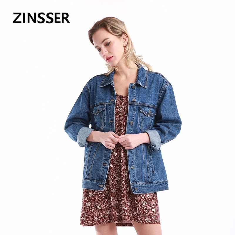Women Denim Basic Jacket Oversize Loose Casual Long Sleeve 100% Cotton Washed Blue Female Lady Coat