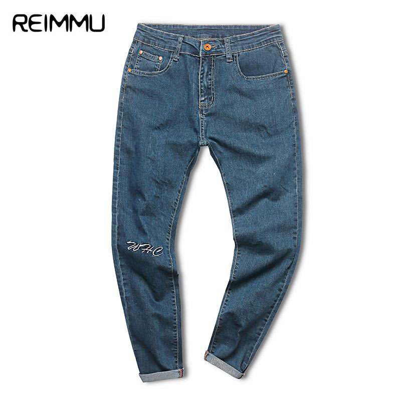 Reimmu Fashion Brand Skinny Jeans Men Ankle-Length Male Denim Jumpsuit Casual Denim Overalls for Men Oversized Pantalones Hombre denim overalls male suspenders front pockets men s ripped jeans casual hole blue bib jeans boyfriend jeans jumpsuit or04