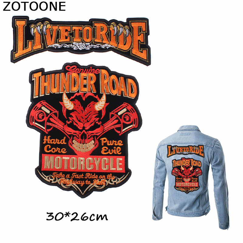 ZOTOONE Cool Red Thunder Road Patches Iron on Embroidery Clothes Large Skull LIVE TO RIDE Custom Patch DIY Applique E