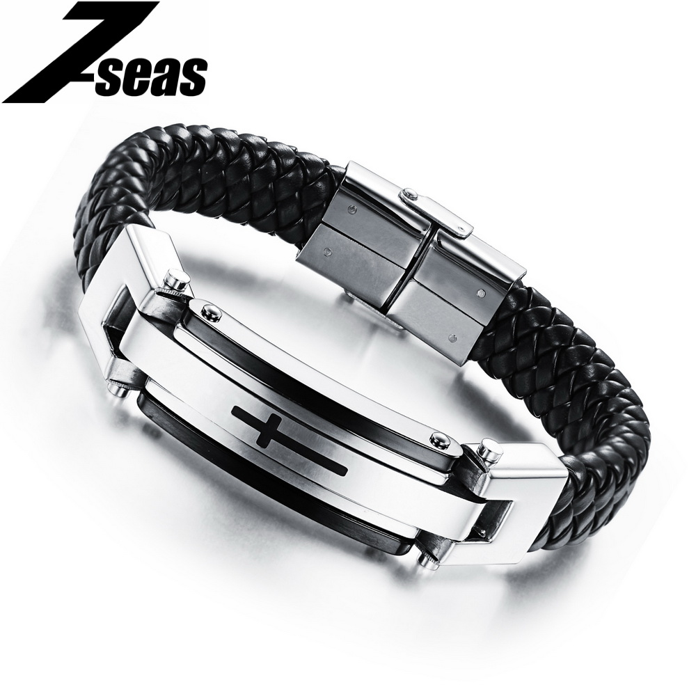 Punk Rock Cool Male Leather Stainless Steel Cross Bracelets Handmade  Braided Wristband For Men Pulseira Masculina