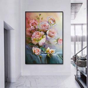 Image 4 - Classic rose pittura a olio di San Valentino Giorno decorativa poster e stampato Nordic pittura murale di arte della parete casa pittura decorativa