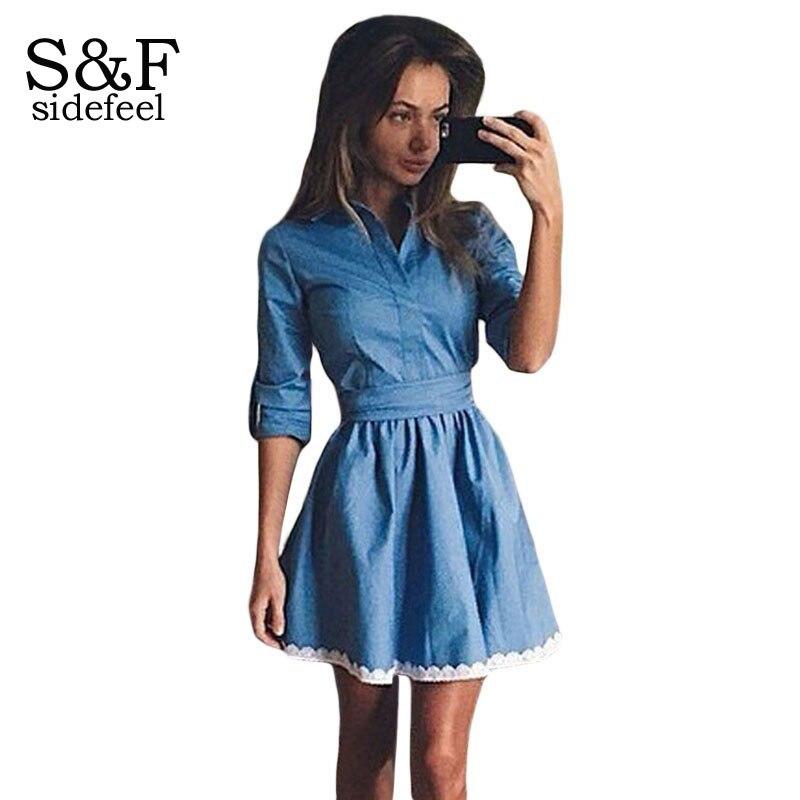 New Lace Trim Shirt Denim Skater Dress LC22537 Women Slim Jeans ...