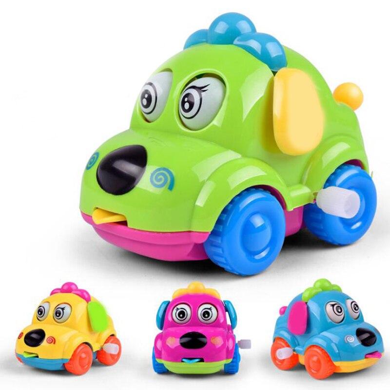 1 Pc Bunte Kunststoff Schöne Cartoon Hund Automobil Uhrwerk Kette Lauf Auto Kinder Wind Up Pädagogisches Spielzeug Lustige Spiele Phantasie Farben