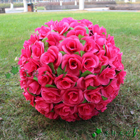 15 inches 40cm Elegant Artificial Silk Rose Flower Kissing Ball For Wedding Christmas Ornaments Party Decoration Supplies