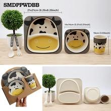 SMDPPWDBB 5pcs/set Baby Feeding Set with Bowl Plate Forks Spoon Cup Dinnerware Set Bamboo Fiber Children's Tableware