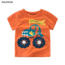 SAILEROAD 2-9Years Children Kids Tops Tees T Shirt Cartoon Big Wheel Cars Print Baby Boys Girls Shirts For Cotton Child Clothes