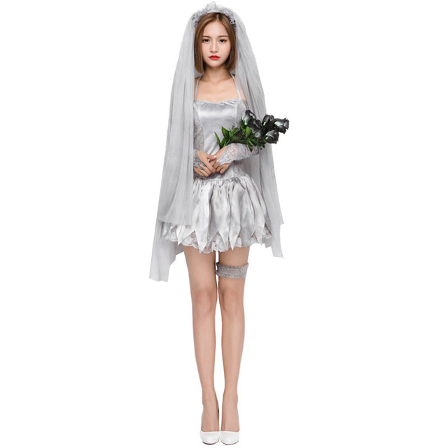 adult women halloween corpse bride costume ladies short sexy halter dress cosplay fancy outfit for teen