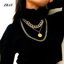 1bba989edd8f ZRAY Punk Heavy Metal textura de la Reina en relieve suéter cadena colgante collares  para mujeres de moda Simple multicapa .
