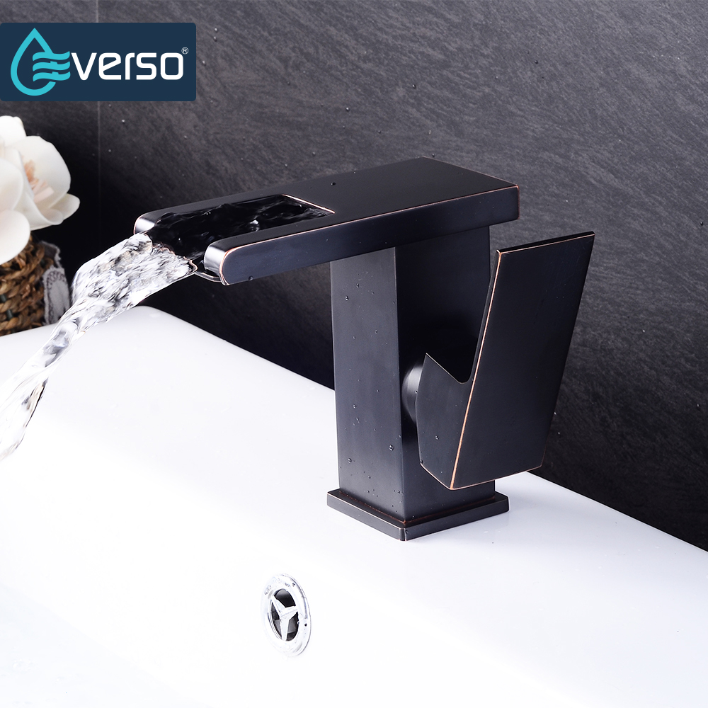 EVERSO Black Faucet Waterfall Basin Sink Faucet Chrome Single Handle Bathroom Faucet Cold and Hot Mixer Tap pastoralism and agriculture pennar basin india