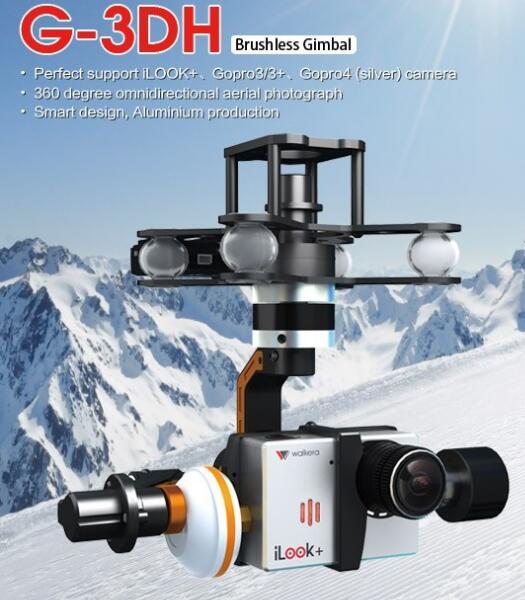 Livraison gratuite Walkera G-3DH sans brosse rotatif caméra Support de cardan iLook + Gopro3/3 + Gopro4 caméra 360 degrés contrôle d'inclinaison FPV