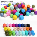 50pcs/lot 14mm BPA Free Loose Silicone Hexagon Beads Food Grade Teething Beads For DIY Silicone Baby Pacifier Teether Necklaces