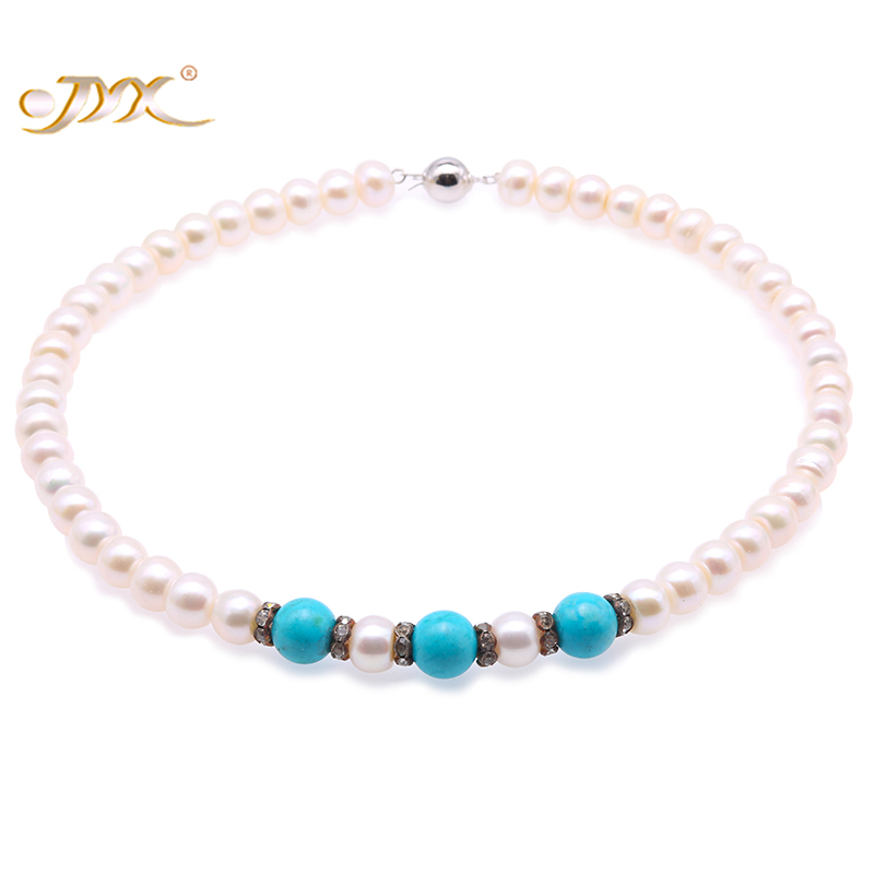 JYX Classical 10-10.5mm White Pearl Necklace With Blue Turquoises AAA 18 InchesJYX Classical 10-10.5mm White Pearl Necklace With Blue Turquoises AAA 18 Inches