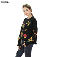 2017 Winter Fall Women Clothing New Fashion O Neck Casual Pullovers Batwing Sleeve Floral Fall Trend