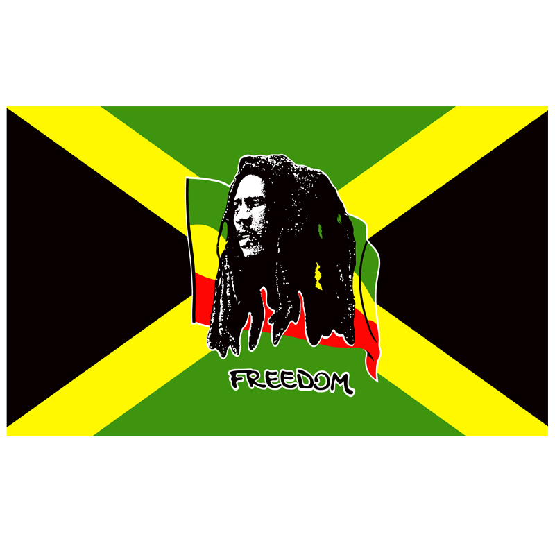 free shipping xvggdg flag Jamaica Bob Marley Freedom Flag hot sell goods 150X90CM Banner brass metal holes image