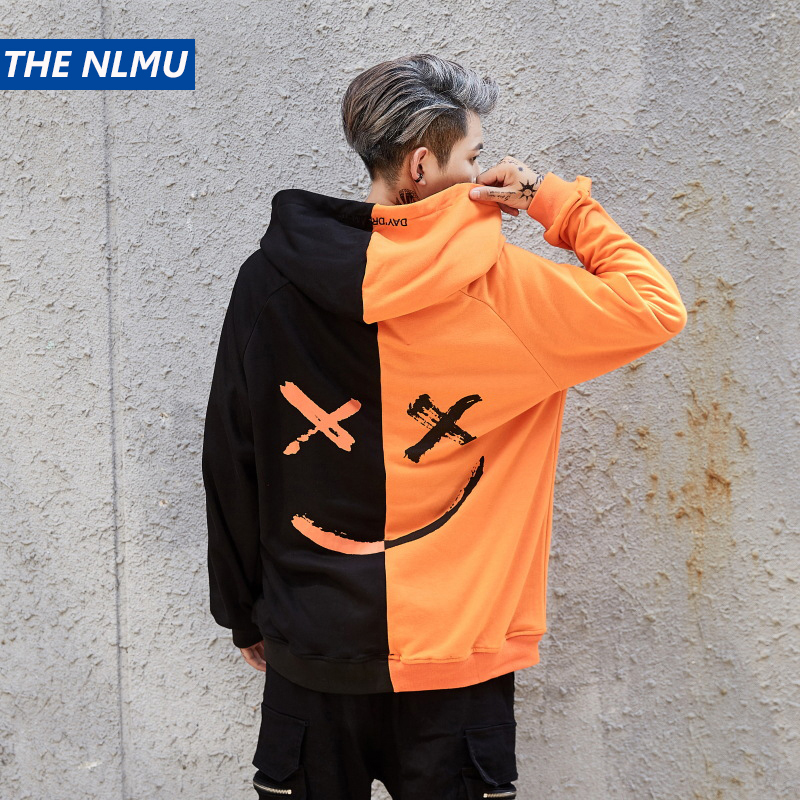 Hoodies Sweatshirts Men Women Color Block Patchwork Smile Print Hoodie Hip Hop Streetwear 2018 Men Clothing W0002