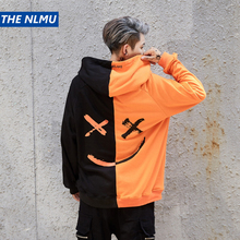 THE NLMU Dropshipping Sweatshirts Men Women Color Block Patchwork Smile Print Hoodie
