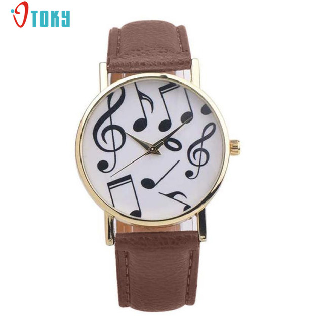 Casual Musical Notes Women Men Watches PU Leather Band Analog Quartz Dial Wrist