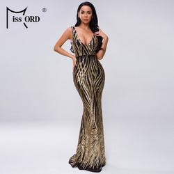 Missord 2020 Frauen Sommer V Neck Off Schulter Geometrie Backless Pailletten Kleid Weibliche Elegante Maxi Kleid Vestdios FT19300