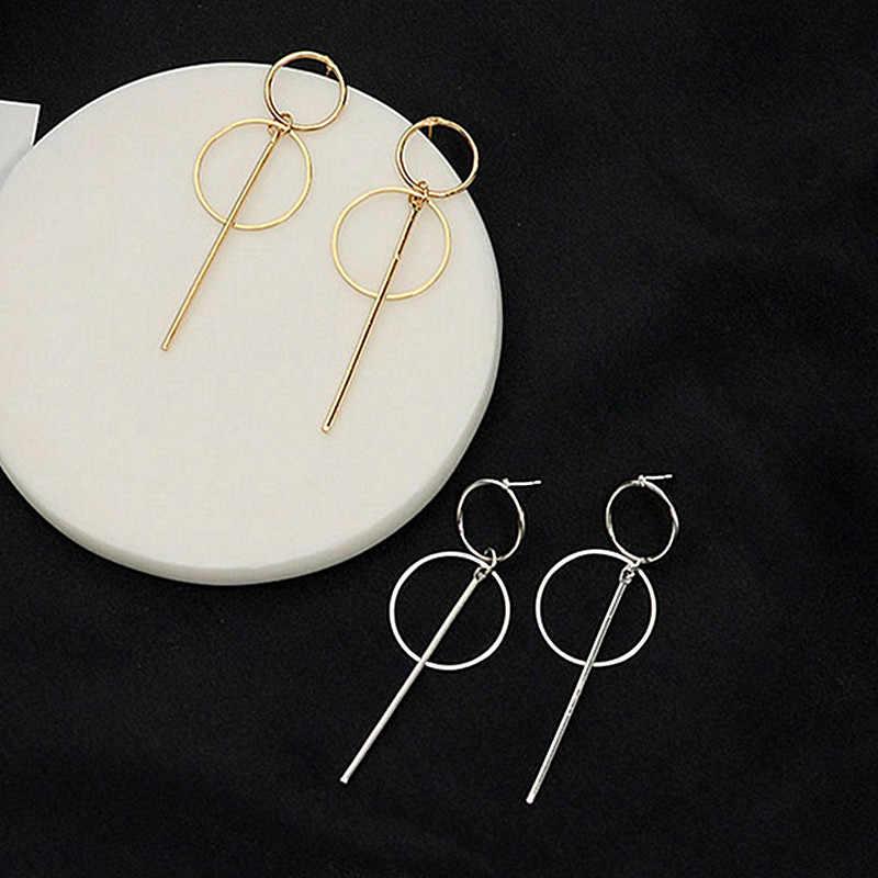 Новые серьги с золотой металлической кисточкой для женщин, Длинные круглые серьги с подвеской, модные ювелирные изделия, массивные геометрические серьги Vorbellen Voor Vrouwen