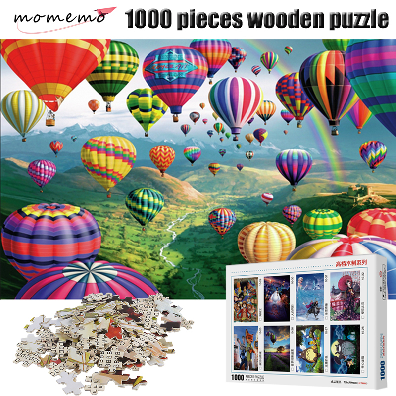 MOMEMO Creative Color Fire Balloon Adult Puzzle 1000 Pieces Wooden Entertainment Jigsaw Children Assembling Toys
