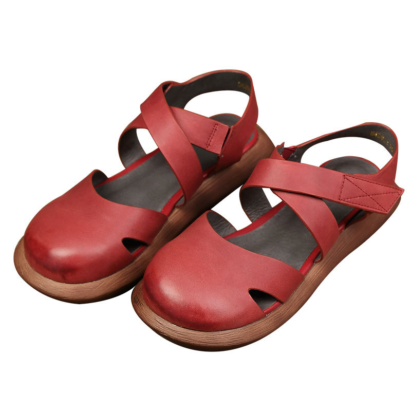 Mori Girl Style Women's Flats Shoes Closed Toe Genuine Leather Hand Made Platform Shoes Woman Round Toe Mary Jane Shoes Women