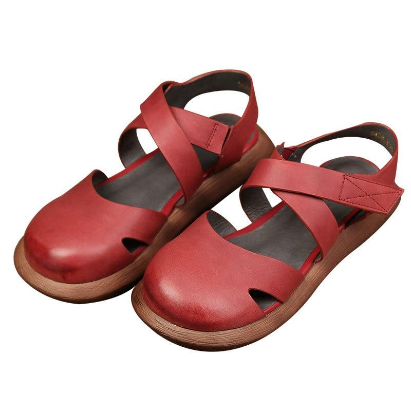 Морі Дівчина Стиль Жіноча квартира взуття Закриті Toe Натуральна шкіра ручної роботи платформи взуття Жінка круглі Toe Мері Джейн взуття жінок