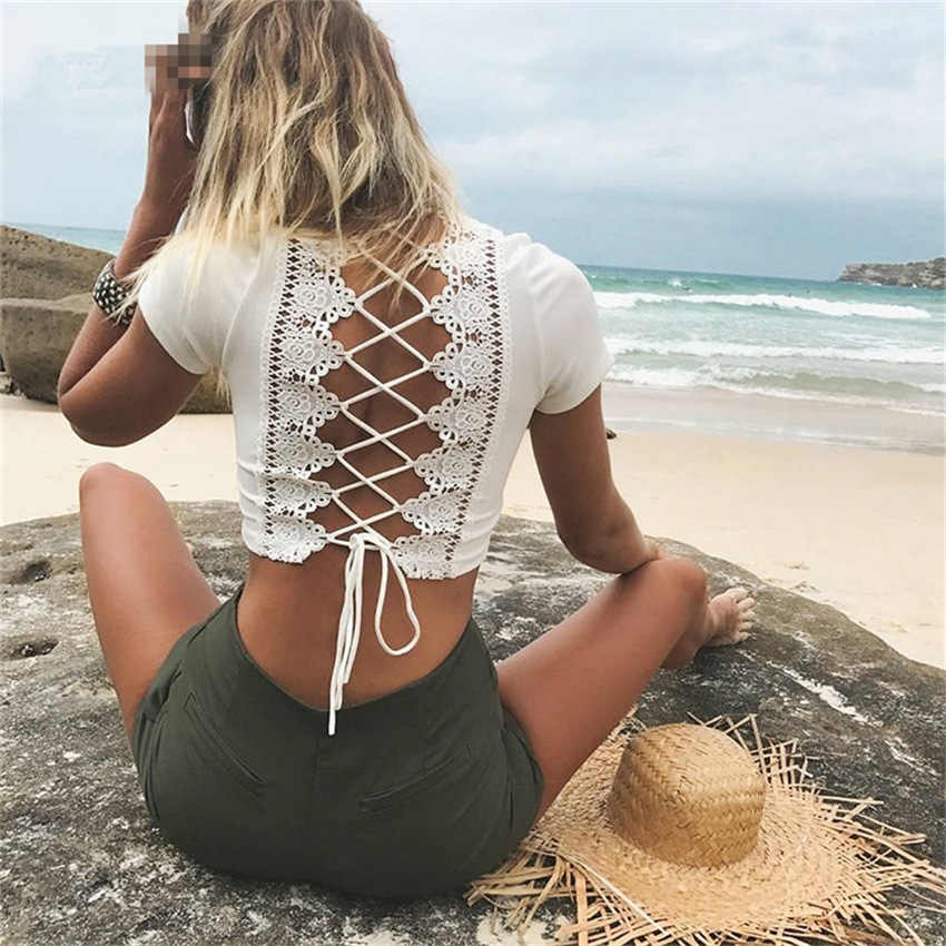 Kriskras O-hals Patch Meisje Korte Zomer Solid Black Tee Backless Lace Up Mode Strand Tees Tshirt Vrouwen Losse Casual T-shirt