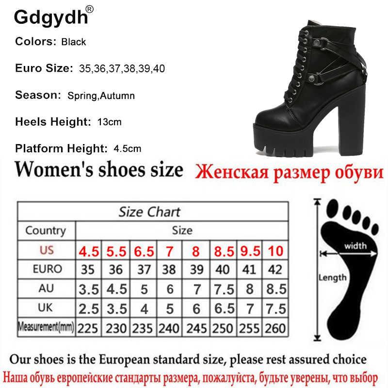 a5e9f5c875f35f ... Gdgydh mode bottes noires femmes talon printemps automne chaussures à  lacets en cuir souple plate-