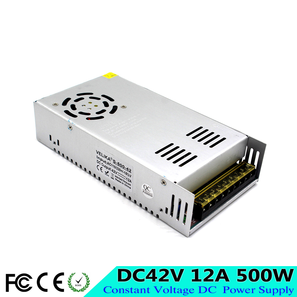 Best quality 42V 12A 500W Switching Power Supply Driver AC 110-220V Input to DC 42V SMPS for CNC Router Stepper Motor Machinery