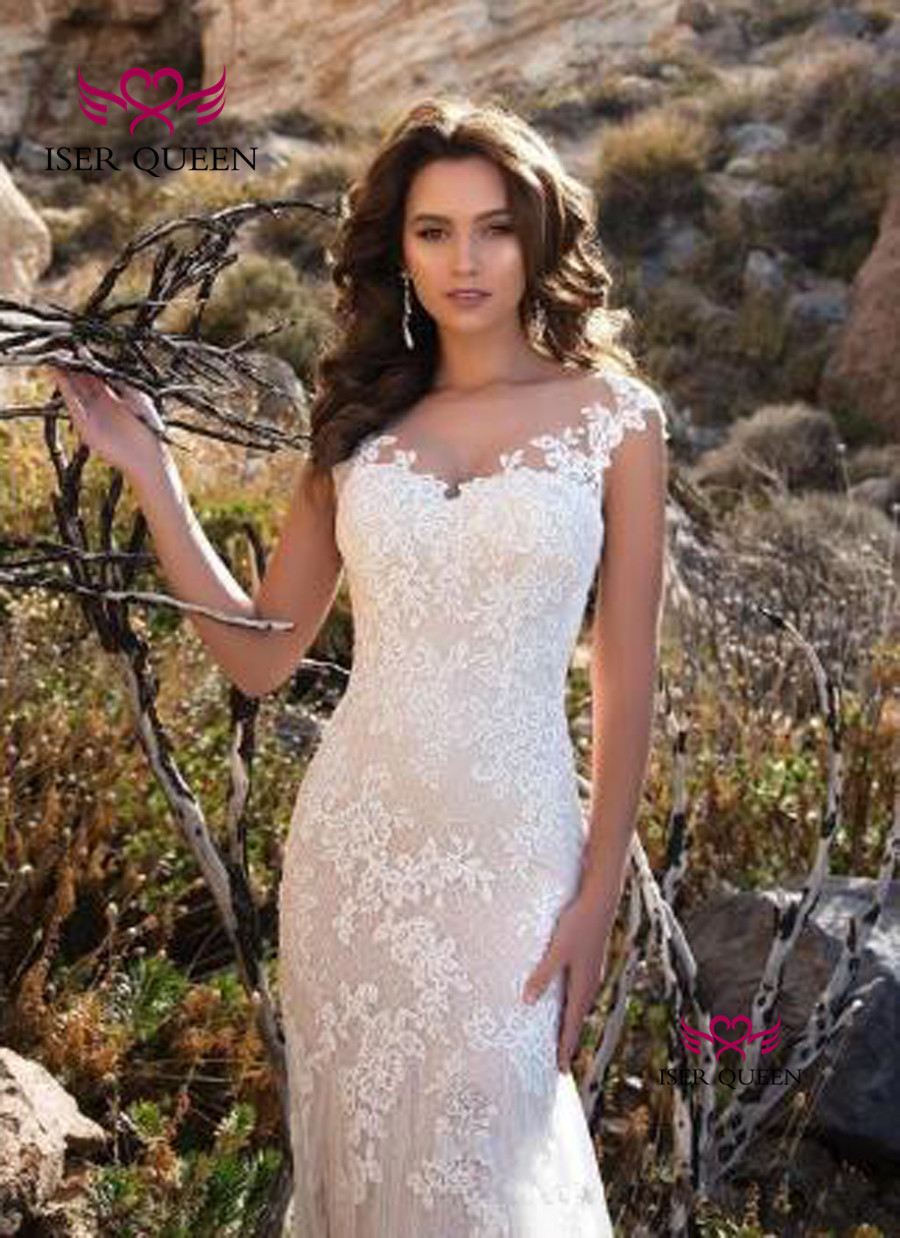 Court Train Sheer Neck Europe Mermaid Wedding Dresses Short Sleeves Lace Appliques Illusion Vintage 2020 Wedding Dress W0484