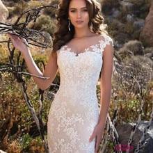 Vestido de novia de corte de cola cuello escarpado Europa sirena vestidos de novia de manga corta encaje ilusión de apliques Vintage 2020 vestido de novia W0484