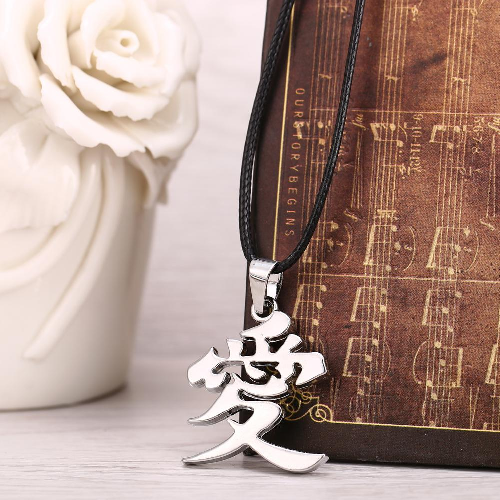 Anime Naruto Gaara Gourd Love Logo Chinese Word AI LOVE Pendant Metal Necklace