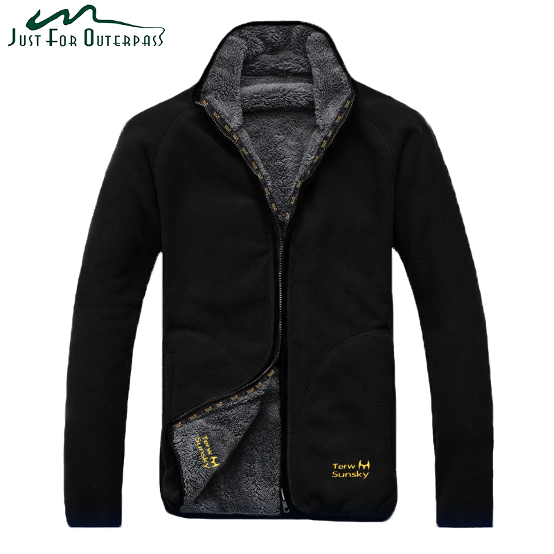 New Arrival Winter Warm Polar Coral Fleece Jacket Men Windproof Thick Reversible Coat Male High Quality Plus Size Outerwear