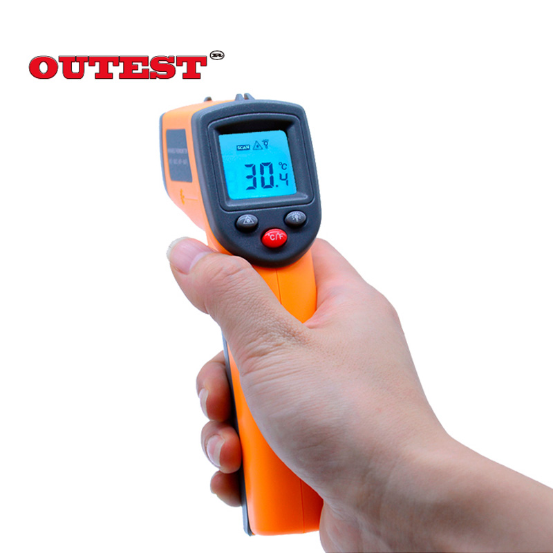 GS320  Non contact Digital Laser infrared thermometer -50~360C (-58~680F) Themperature Pyrometer IR Laser Point Gun 2017 bside btm21c infrared thermometer color digital non contact ir laser thermometer k type 30 500 led