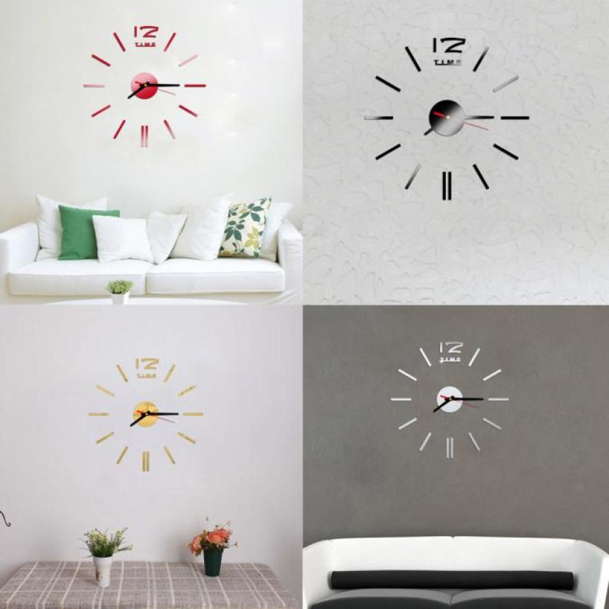 Fashion Simplicity Mini Modern DIY Wall Clock 3D Sticker Design Home Office Room Decor m17