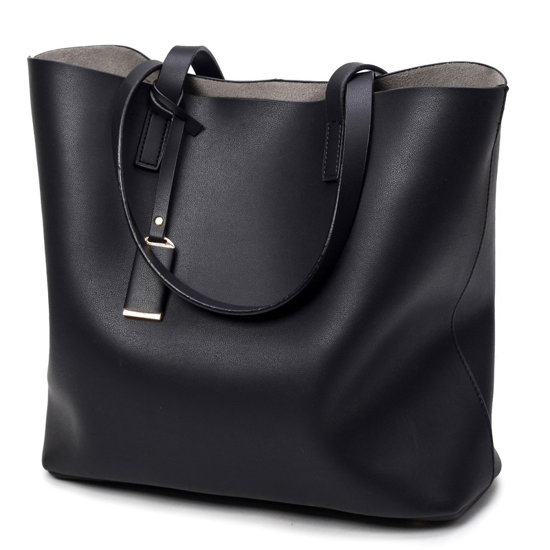 Luxury Women Handbag High Quality Leather Tote Elegant Lady Solid Color  Shoulde