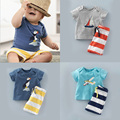2016 New Vetement Garcon Striped Boys Clothing Set Summer Kinderkleding Jongens Child Clothes Set Cool Kids Clothes