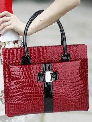 Free Shipping,Red Patent CROCO Womens Handbag #1090,Shoulder Bag,Ladies Bag,Leisure Bag,Fashion Hobos,Briefcase