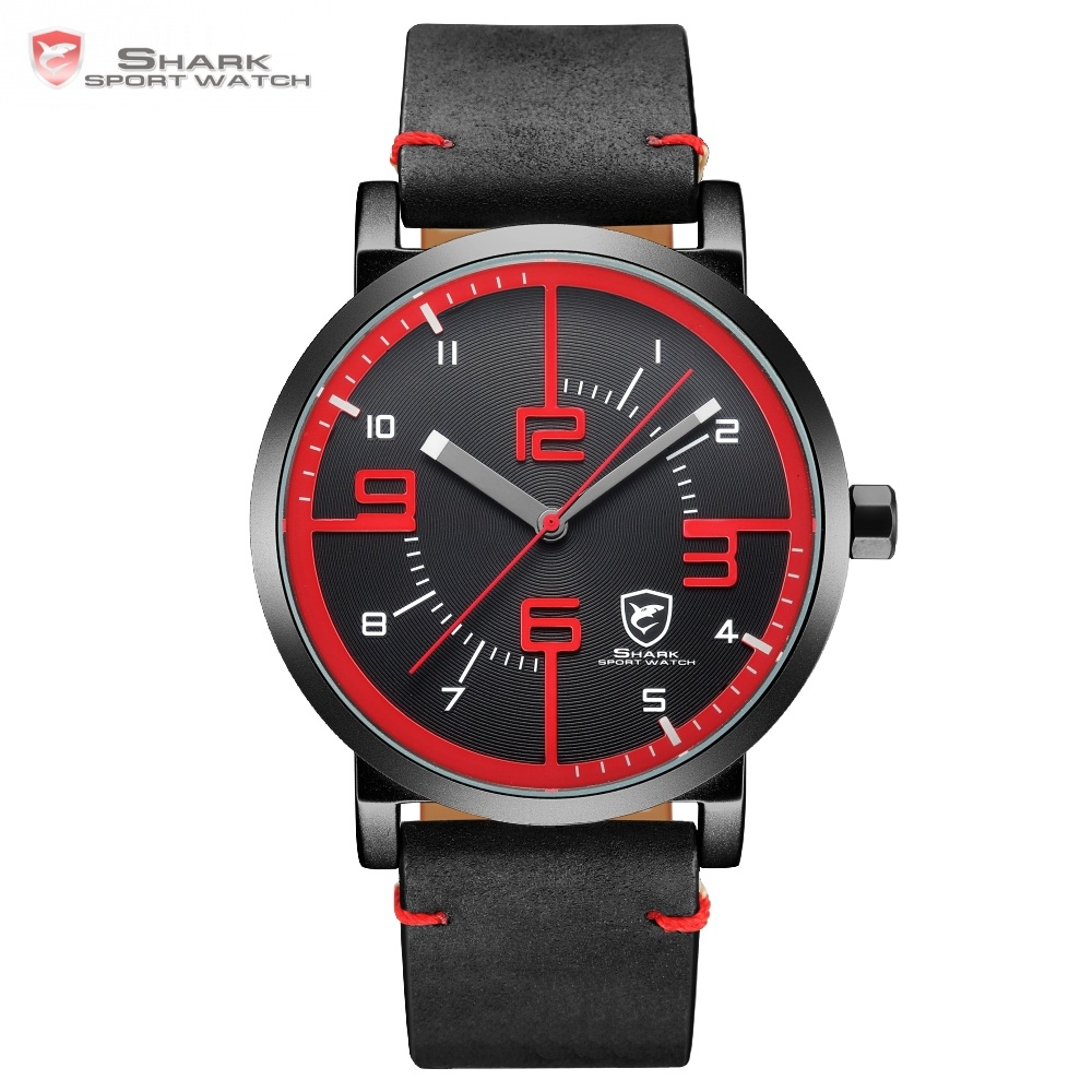 Bahamas Saw SHARK Sport Watch Black Red Men Quartz Simple Long Second Hand Crazy Horse Leather