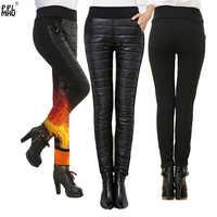 Pantalones cálidos ajustados para mujer, pantalón negro con cintura elástica, ropa de trabajo, informal, grueso, barato, para invierno, 2019