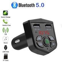 Bluetooth 5.0 Voltage Digital display Car FM Transmitter handsfree dual 2 USB phone Charger 3.1A 1A TF Card U disk MP3 player
