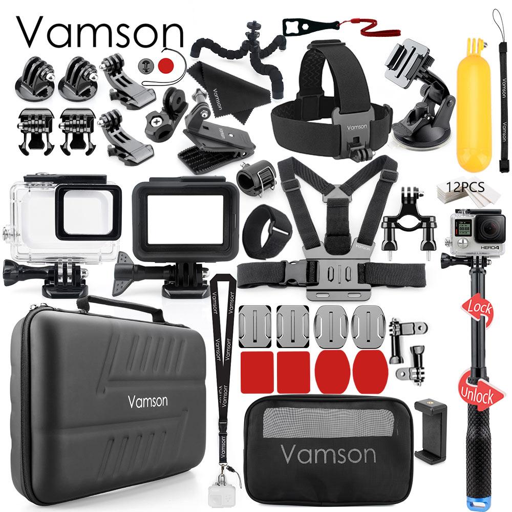 Vamson pour Gopro accessoires set pour go pro hero 7 6 5 noir caméra accessoires Set étanche Protection boîtier VS73