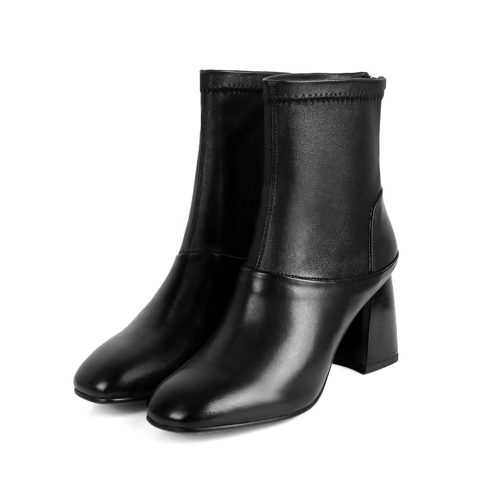 black Chaude En Orteil Fur Not Noir Vente Carré Black Asumer Fur Cuir Cheville Épais Femmes With Simple 2018 Nouveau Bottes Talons Mode Unique Arrivent Véritable SfaYSBIn