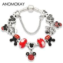 Anomokay Dropshipping Hot Mickey Minnie Silver Color Charm Bracelet Bangle Red Enamel Crystal Fashion Bead Gift