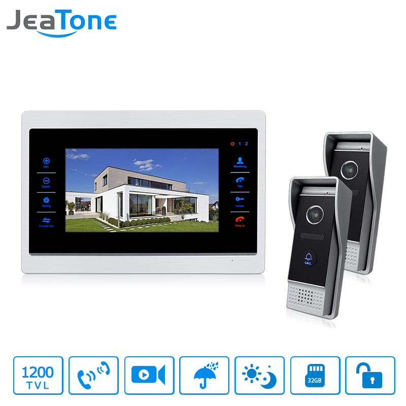 JeaTone Wired 7 Door Intercom Video Door Phone System Hands-free 2 Cameras 1 Monitor Night Vision Home Intercom Security System jeatone 10 hd wired video doorphone intercom kit 3 silver monitor doorbell with 2 ir night vision 2 8mm lens outdoor cameras